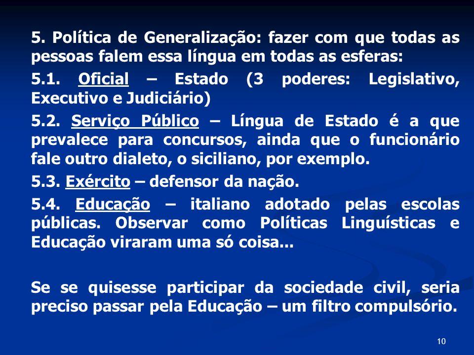10 5. Política de Generalização: fazer com que todas as pessoas falem essa língua em todas as esferas: 5.1. Oficial – Estado (3 poderes: Legislativo,