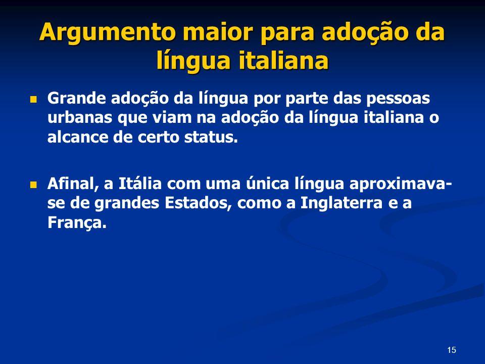 15 Argumento maior para adoção da língua italiana Grande adoção da língua por parte das pessoas urbanas que viam na adoção da língua italiana o alcanc