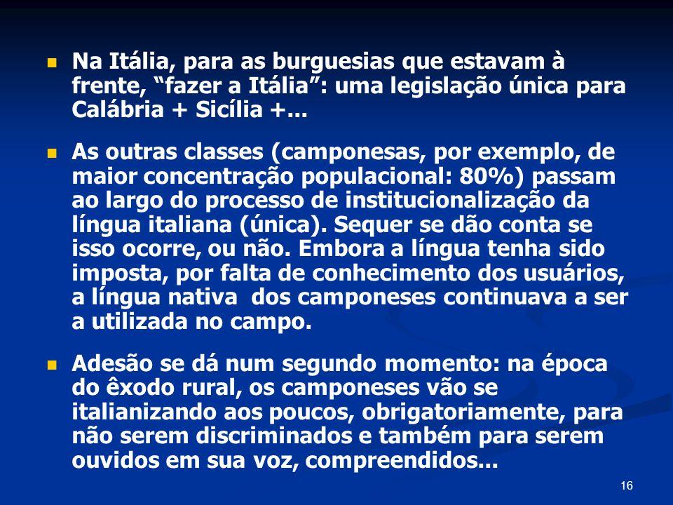 16 Na Itália, para as burguesias que estavam à frente, fazer a Itália: uma legislação única para Calábria + Sicília +... As outras classes (camponesas