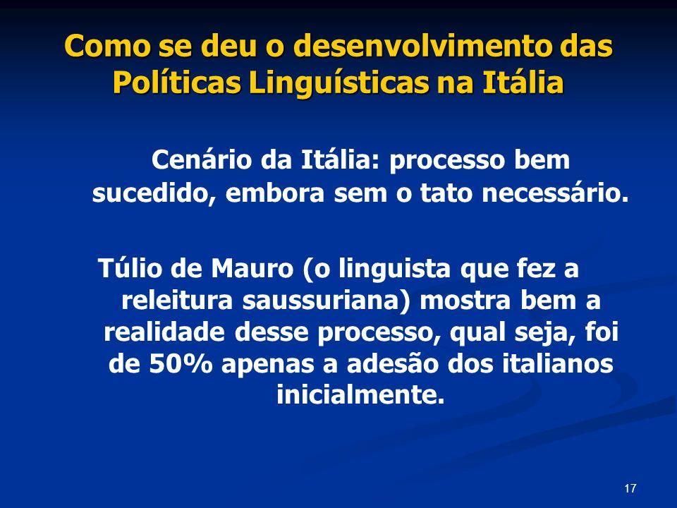17 Como se deu o desenvolvimento das Políticas Linguísticas na Itália Cenário da Itália: processo bem sucedido, embora sem o tato necessário. Túlio de
