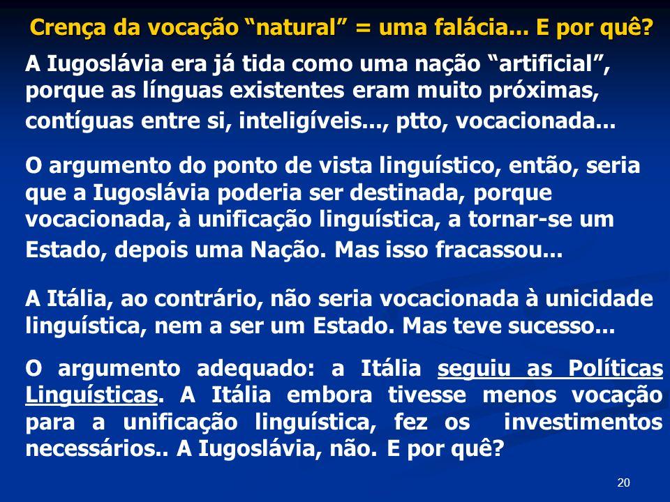 20 Crença da vocação natural = uma falácia... E por quê? A Iugoslávia era já tida como uma nação artificial, porque as línguas existentes eram muito p