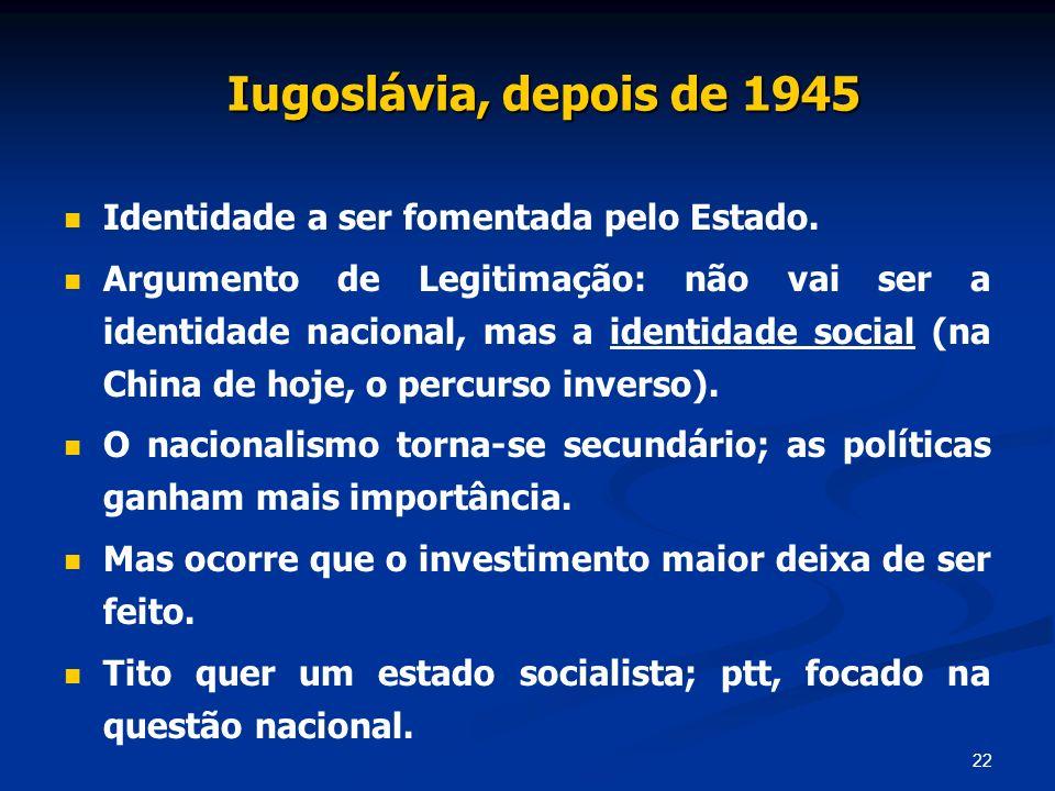 22 Iugoslávia, depois de 1945 Identidade a ser fomentada pelo Estado. Argumento de Legitimação: não vai ser a identidade nacional, mas a identidade so
