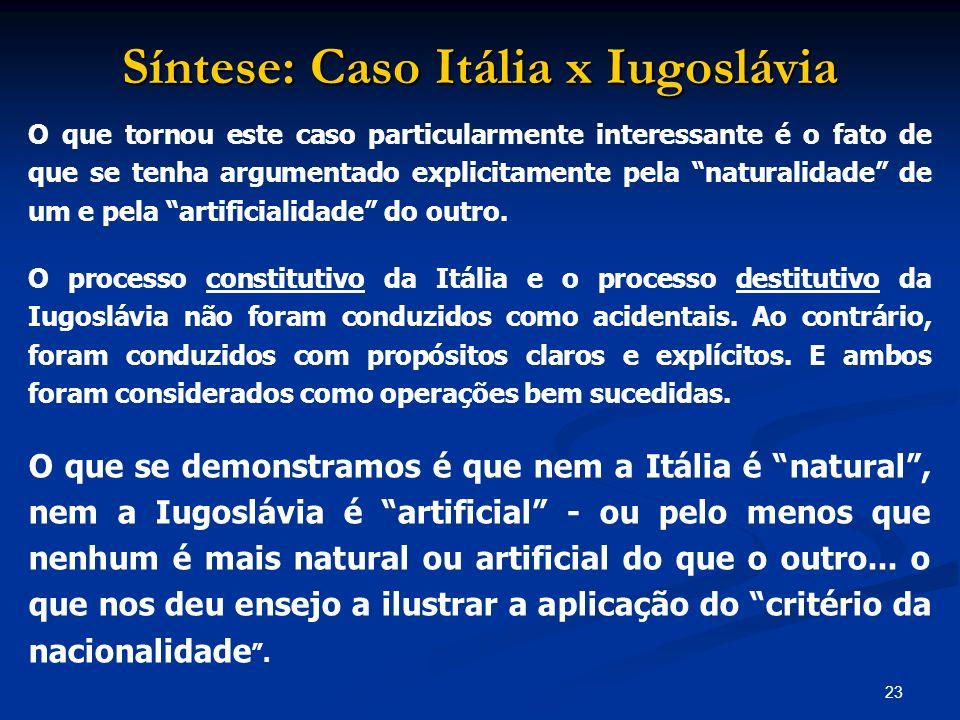 23 Síntese: Caso Itália x Iugoslávia O que tornou este caso particularmente interessante é o fato de que se tenha argumentado explicitamente pela natu