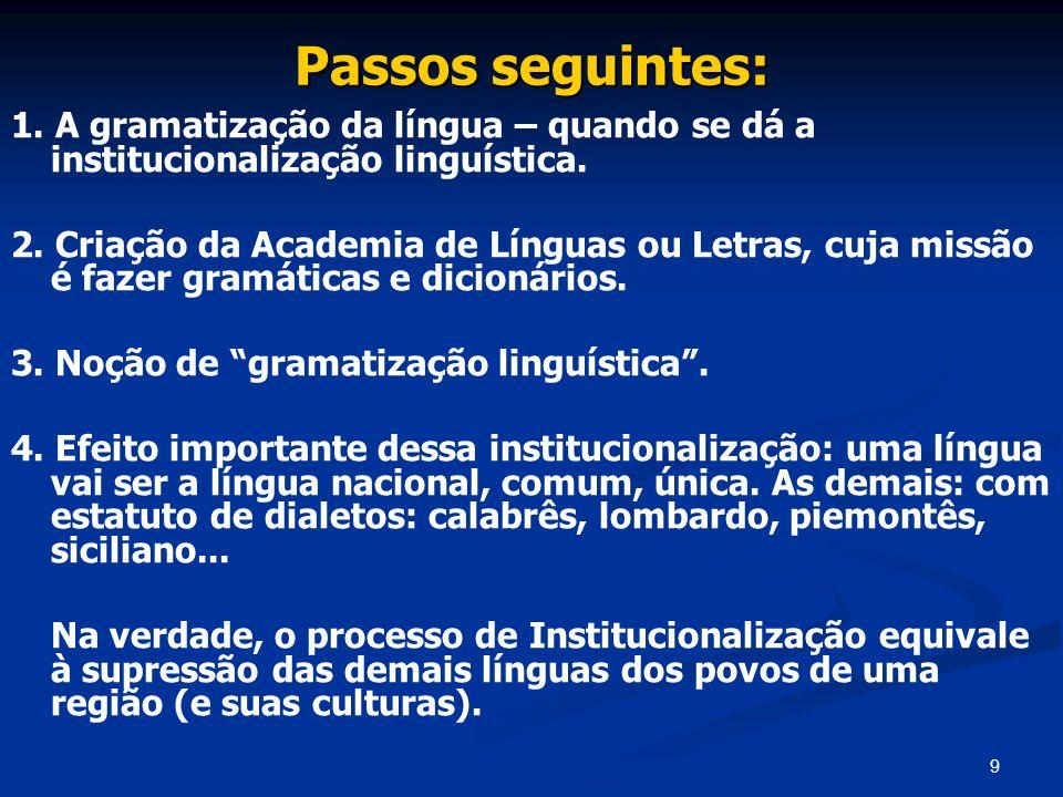 9 Passos seguintes: 1. A gramatização da língua – quando se dá a institucionalização linguística. 2. Criação da Academia de Línguas ou Letras, cuja mi