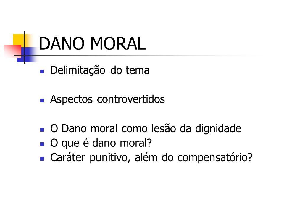 DANO MORAL Delimitação do tema Aspectos controvertidos O Dano moral como lesão da dignidade O que é dano moral.