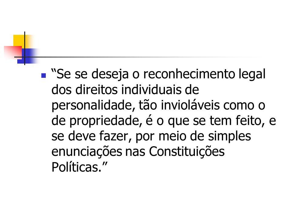 antecedentes históricos Segundo Teixeira de Freitas Os direitos da personalidade não poderiam ser inseridos no Código Civil, pois, não continham os el