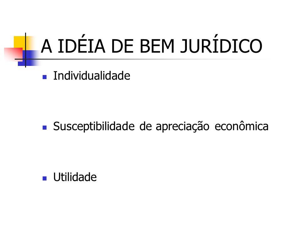 A IDÉIA DE BEM JURÍDICO Individualidade Susceptibilidade de apreciação econômica Utilidade