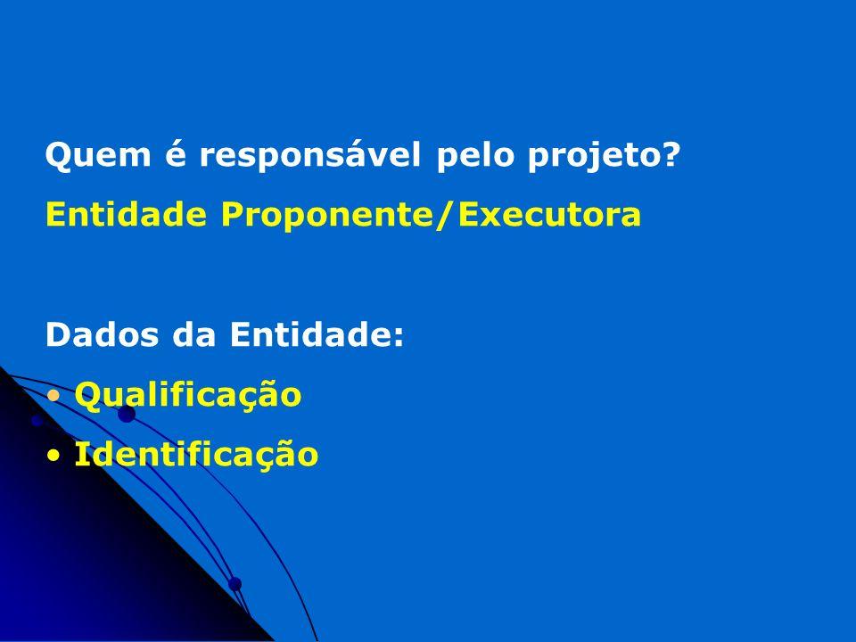 Quem é responsável pelo projeto? Entidade Proponente/Executora Dados da Entidade: Qualificação Identificação