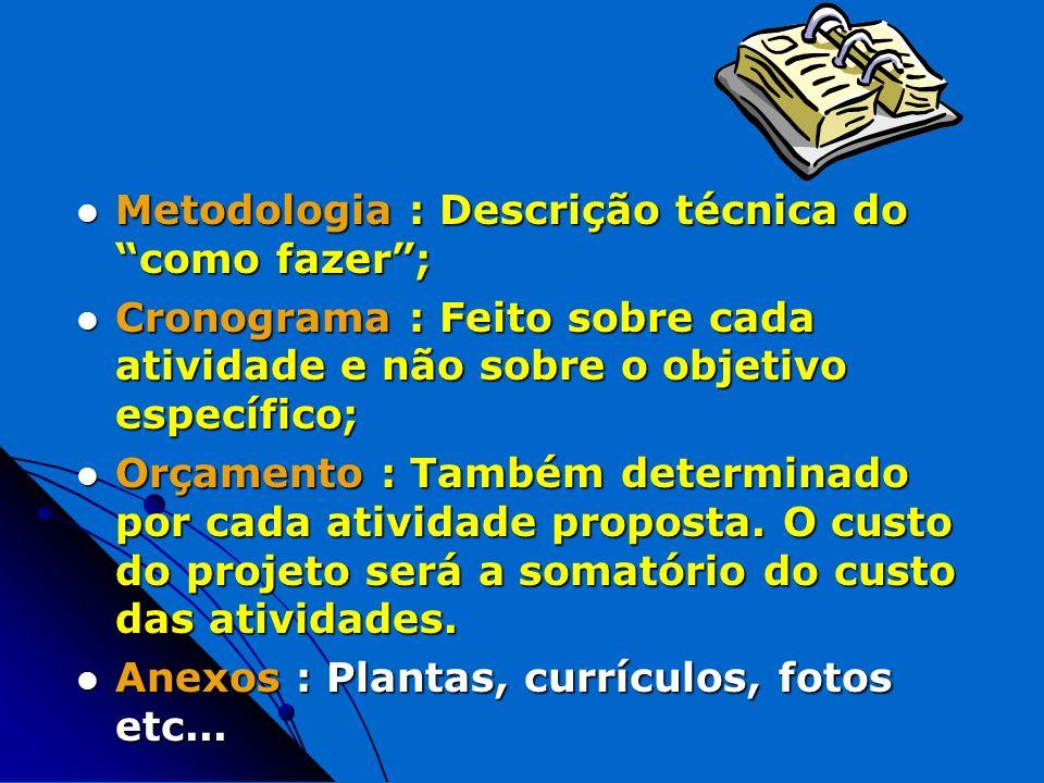 Metodologia : Descrição técnica do como fazer; Metodologia : Descrição técnica do como fazer; Cronograma : Feito sobre cada atividade e não sobre o ob