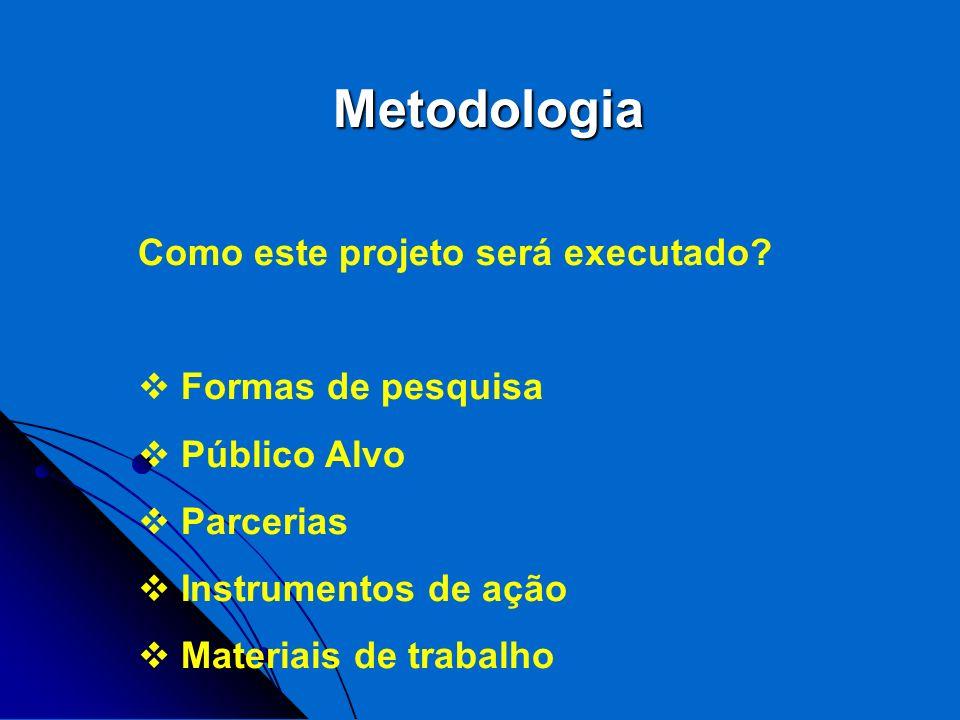 Metodologia Como este projeto será executado? Formas de pesquisa Público Alvo Parcerias Instrumentos de ação Materiais de trabalho