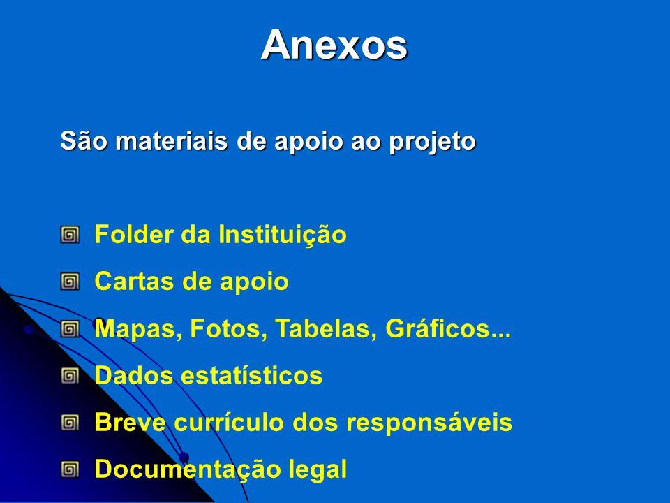 Anexos São materiais de apoio ao projeto Folder da Instituição Cartas de apoio Mapas, Fotos, Tabelas, Gráficos... Dados estatísticos Breve currículo d