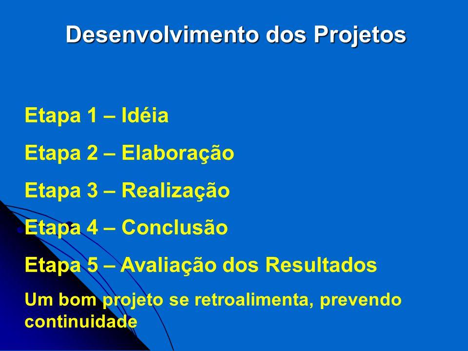 Desenvolvimento dos Projetos Etapa 1 – Idéia Etapa 2 – Elaboração Etapa 3 – Realização Etapa 4 – Conclusão Etapa 5 – Avaliação dos Resultados Um bom p