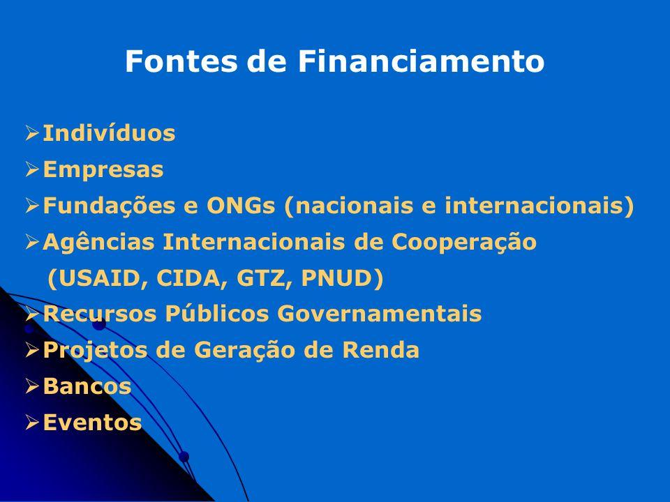 Fontes de Financiamento Indivíduos Empresas Fundações e ONGs (nacionais e internacionais) Agências Internacionais de Cooperação (USAID, CIDA, GTZ, PNU