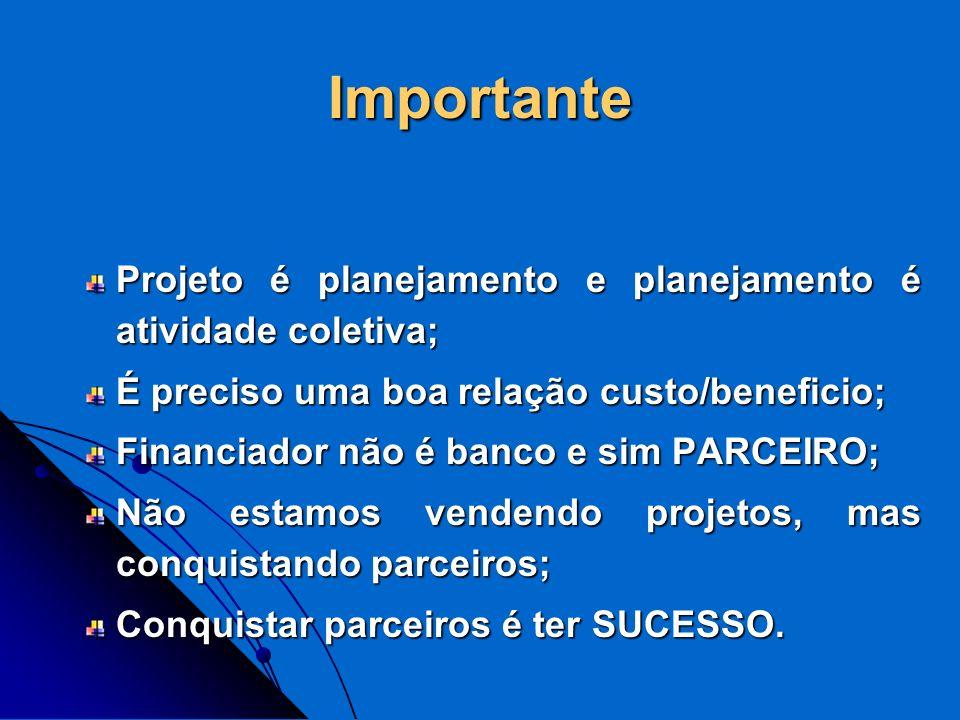 Importante Projeto é planejamento e planejamento é atividade coletiva; É preciso uma boa relação custo/beneficio; Financiador não é banco e sim PARCEI