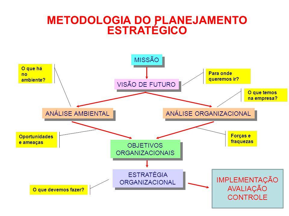 ANÁLISE ORGANIZACIONAL METODOLOGIA DO PLANEJAMENTO ESTRATÉGICO MISSÃO VISÃO DE FUTURO ANÁLISE AMBIENTAL ESTRATÉGIA ORGANIZACIONAL OBJETIVOS ORGANIZACI
