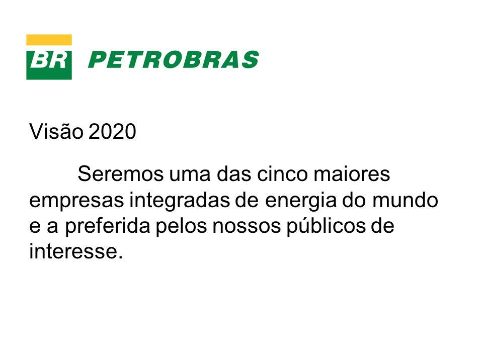 Visão 2020 Seremos uma das cinco maiores empresas integradas de energia do mundo e a preferida pelos nossos públicos de interesse.
