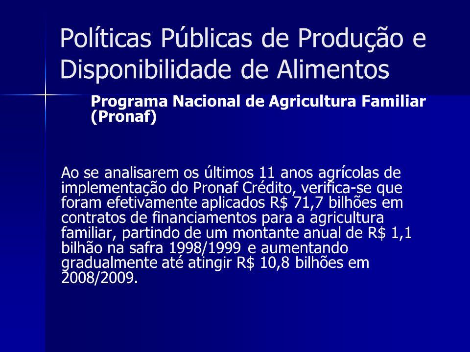 Políticas Públicas de Produção e Disponibilidade de Alimentos Programa Nacional de Agricultura Familiar (Pronaf) Ao se analisarem os últimos 11 anos a