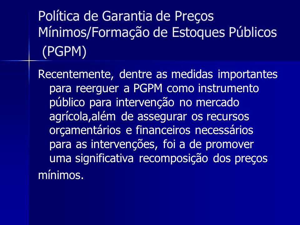 Política de Garantia de Preços Mínimos/Formação de Estoques Públicos (PGPM) Recentemente, dentre as medidas importantes para reerguer a PGPM como inst