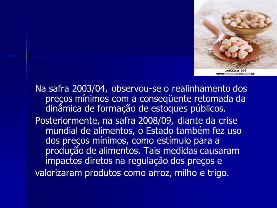 Na safra 2003/04, observou-se o realinhamento dos preços mínimos com a conseqüente retomada da dinâmica de formação de estoques públicos. Posteriormen