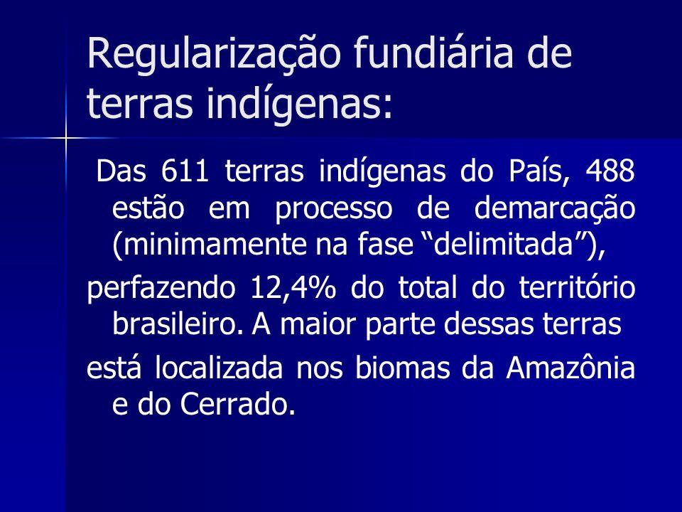 Regularização fundiária de terras indígenas: Das 611 terras indígenas do País, 488 estão em processo de demarcação (minimamente na fase delimitada), p