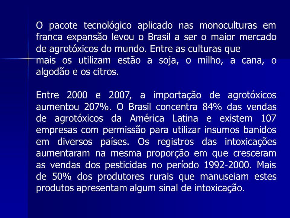 O pacote tecnológico aplicado nas monoculturas em franca expansão levou o Brasil a ser o maior mercado de agrotóxicos do mundo. Entre as culturas que