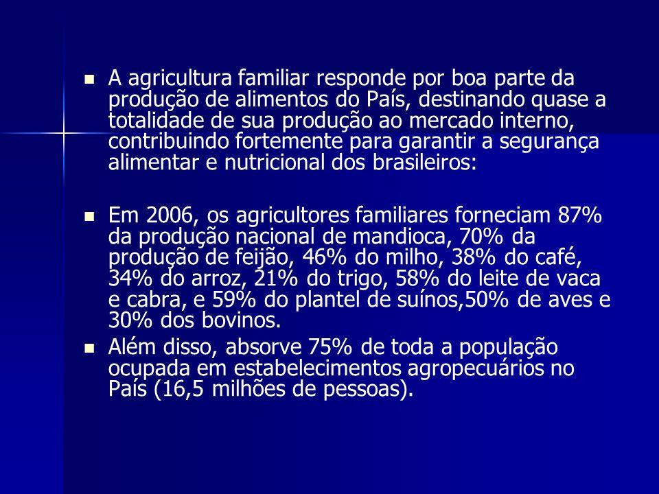 O potencial de geração de renda da agricultura familiar se revela no fato de responder por 33% do total das receitas e 38% do valor da produção, mesmo dispondo apenas de cerca de 25% da área total e de ter acesso a 20% do crédito oferecido ao setor.
