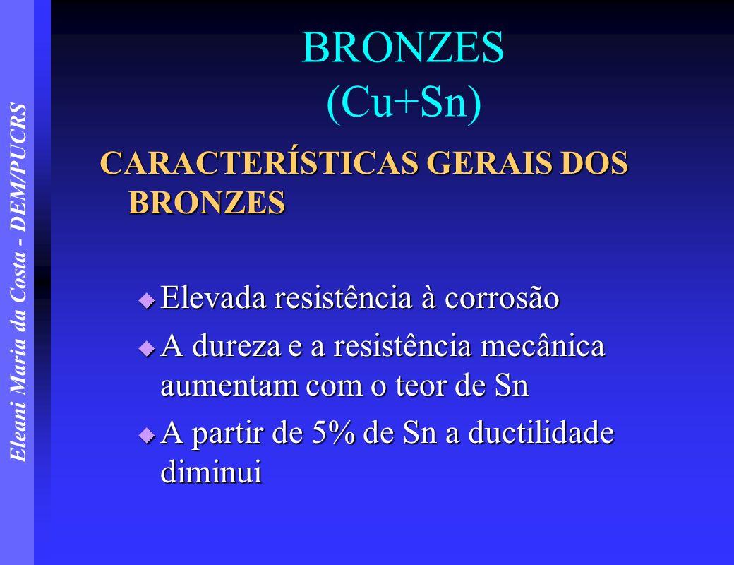 Eleani Maria da Costa - DEM/PUCRS BRONZES (Cu+Sn) CARACTERÍSTICAS GERAIS DOS BRONZES Elevada resistência à corrosão Elevada resistência à corrosão A d