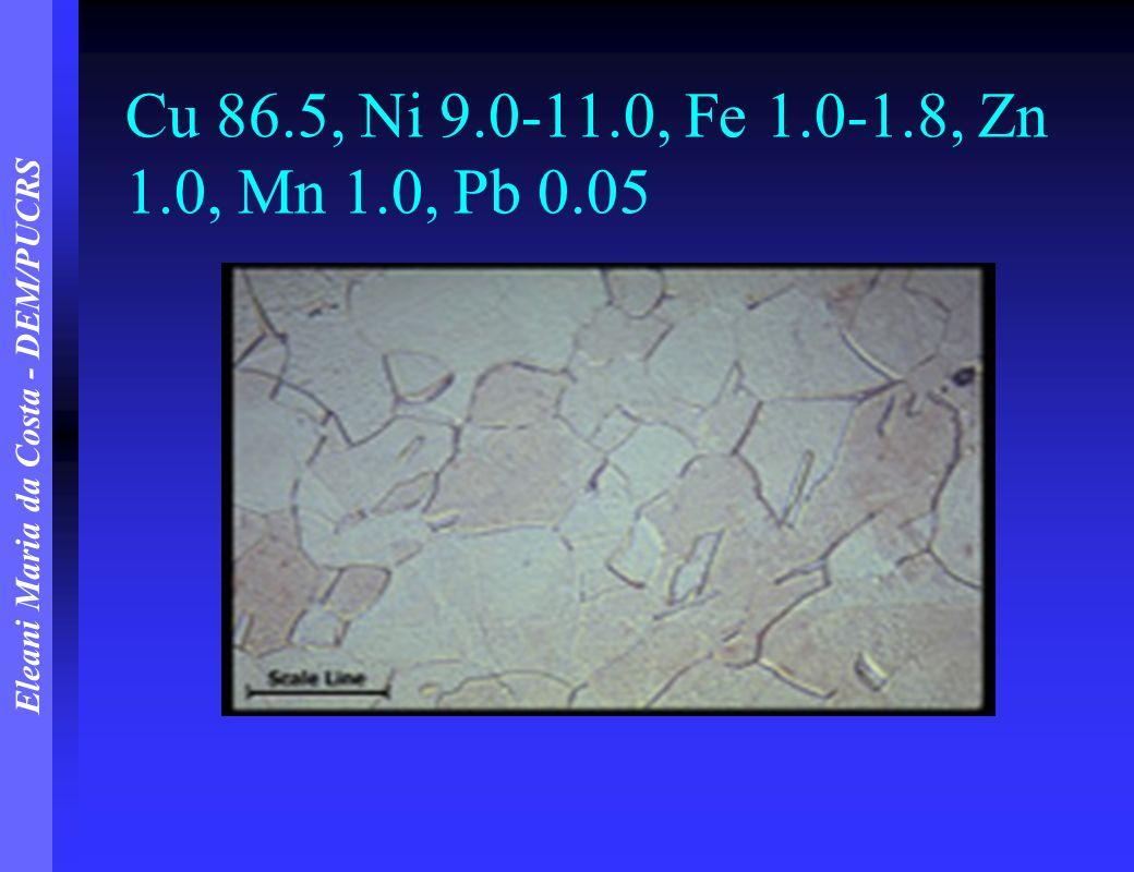 Eleani Maria da Costa - DEM/PUCRS Cu 86.5, Ni 9.0-11.0, Fe 1.0-1.8, Zn 1.0, Mn 1.0, Pb 0.05