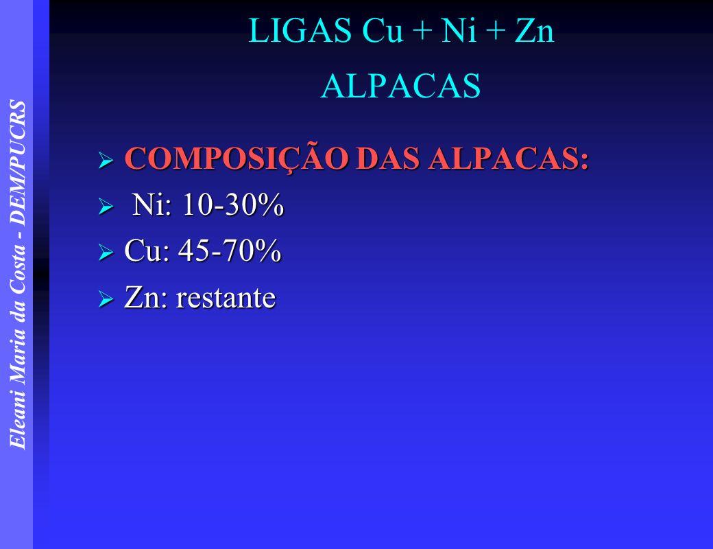 Eleani Maria da Costa - DEM/PUCRS LIGAS Cu + Ni + Zn ALPACAS COMPOSIÇÃO DAS ALPACAS: COMPOSIÇÃO DAS ALPACAS: Ni: 10-30% Ni: 10-30% Cu: 45-70% Cu: 45-7