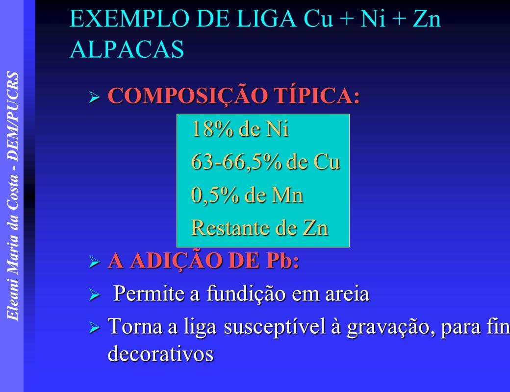 Eleani Maria da Costa - DEM/PUCRS EXEMPLO DE LIGA Cu + Ni + Zn ALPACAS COMPOSIÇÃO TÍPICA: COMPOSIÇÃO TÍPICA: 18% de Ni 18% de Ni 63-66,5% de Cu 0,5% d