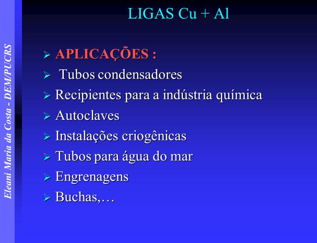 Eleani Maria da Costa - DEM/PUCRS LIGAS Cu + Al APLICAÇÕES : APLICAÇÕES : Tubos condensadores Tubos condensadores Recipientes para a indústria química