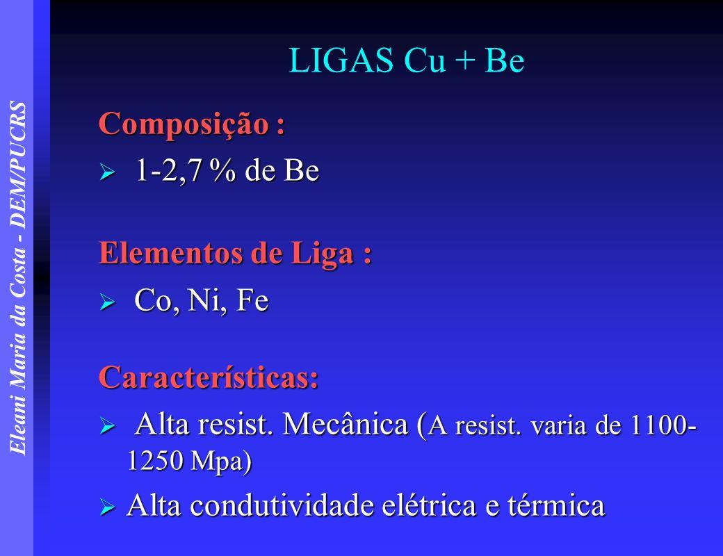 Eleani Maria da Costa - DEM/PUCRS LIGAS Cu + Be Composição : 1-2,7 % de Be 1-2,7 % de Be Elementos de Liga : Co, Ni, Fe Co, Ni, FeCaracterísticas: Alt