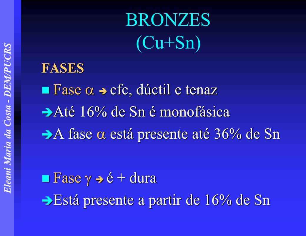 Eleani Maria da Costa - DEM/PUCRS BRONZES (Cu+Sn) FASES Fase cfc, dúctil e tenaz Fase cfc, dúctil e tenaz Até 16% de Sn é monofásica Até 16% de Sn é m