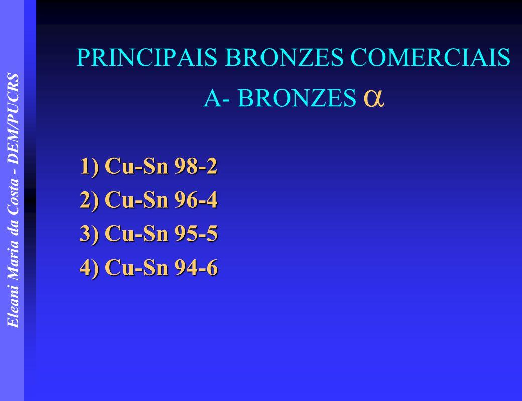 Eleani Maria da Costa - DEM/PUCRS PRINCIPAIS BRONZES COMERCIAIS A- BRONZES 1) Cu-Sn 98-2 2) Cu-Sn 96-4 3) Cu-Sn 95-5 4) Cu-Sn 94-6