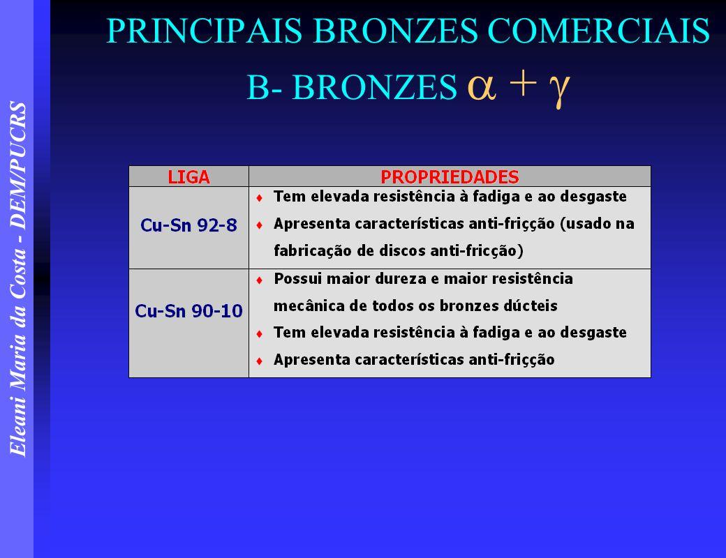 Eleani Maria da Costa - DEM/PUCRS PRINCIPAIS BRONZES COMERCIAIS C- BRONZES PARA FUNDIÇÃO