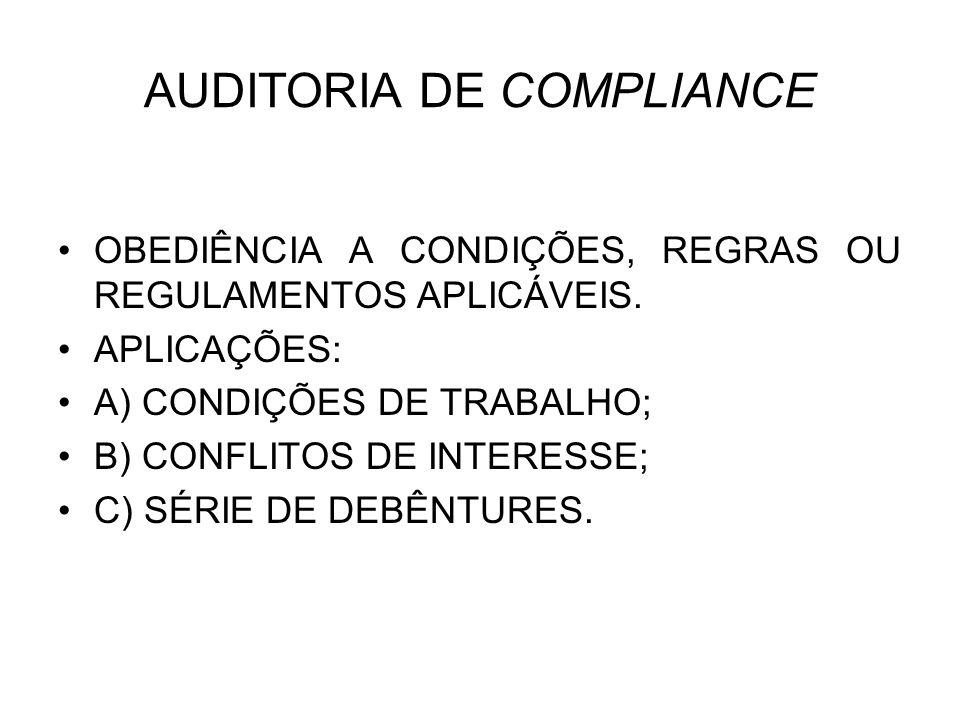 AUDITORIA DE COMPLIANCE OBEDIÊNCIA A CONDIÇÕES, REGRAS OU REGULAMENTOS APLICÁVEIS. APLICAÇÕES: A) CONDIÇÕES DE TRABALHO; B) CONFLITOS DE INTERESSE; C)