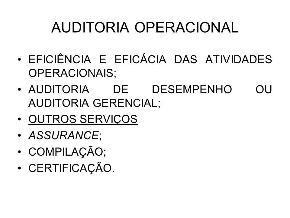 AUDITORIA OPERACIONAL EFICIÊNCIA E EFICÁCIA DAS ATIVIDADES OPERACIONAIS; AUDITORIA DE DESEMPENHO OU AUDITORIA GERENCIAL; OUTROS SERVIÇOS ASSURANCE; CO