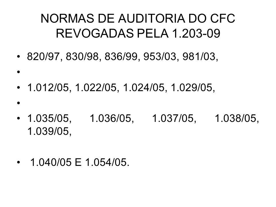 NORMAS DE AUDITORIA DO CFC REVOGADAS PELA 1.203-09 820/97, 830/98, 836/99, 953/03, 981/03, 1.012/05, 1.022/05, 1.024/05, 1.029/05, 1.035/05, 1.036/05,