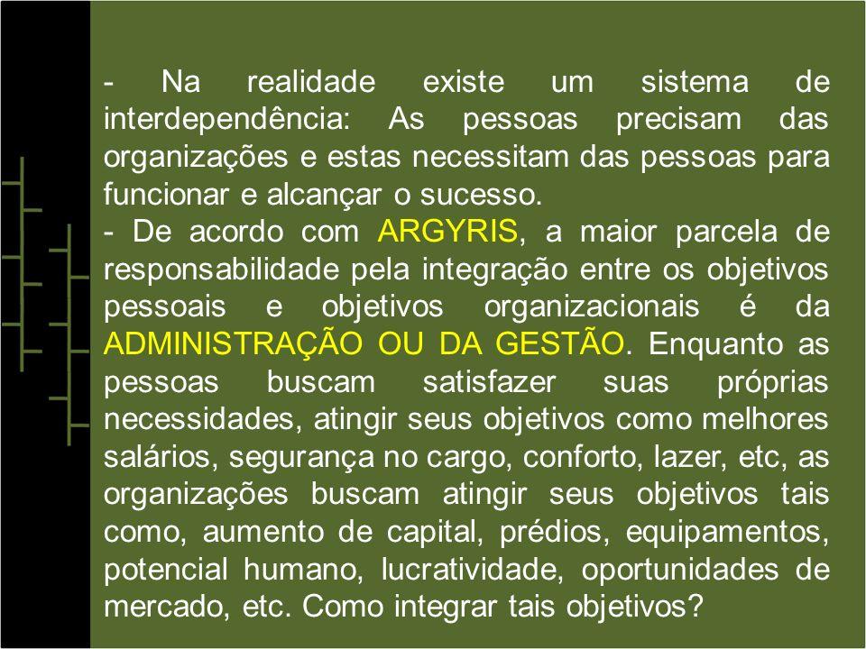 - A INTERAÇÃO entre as pessoas e organizações é complexa e dinâmica.