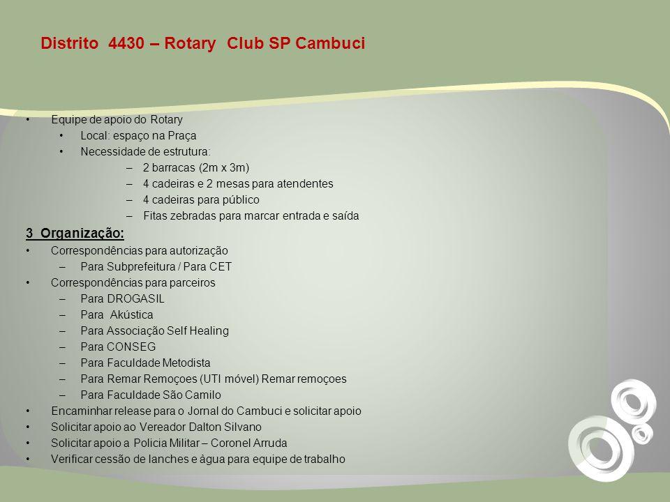 Distrito 4430 – Rotary Club SP Cambuci Equipe de apoio do Rotary Local: espaço na Praça Necessidade de estrutura: –2 barracas (2m x 3m) –4 cadeiras e
