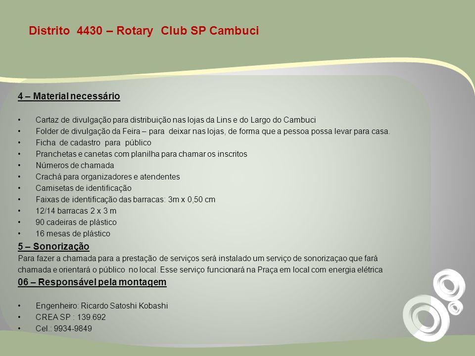 Distrito 4430 – Rotary Club SP Cambuci 4 – Material necessário Cartaz de divulgação para distribuição nas lojas da Lins e do Largo do Cambuci Folder d