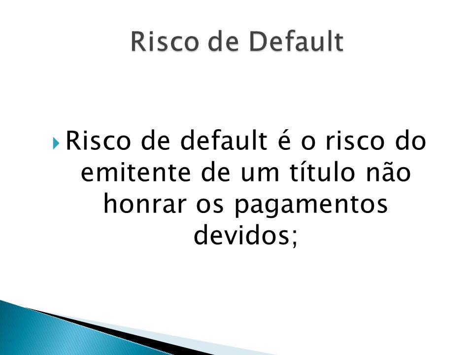 Risco de default é o risco do emitente de um título não honrar os pagamentos devidos;