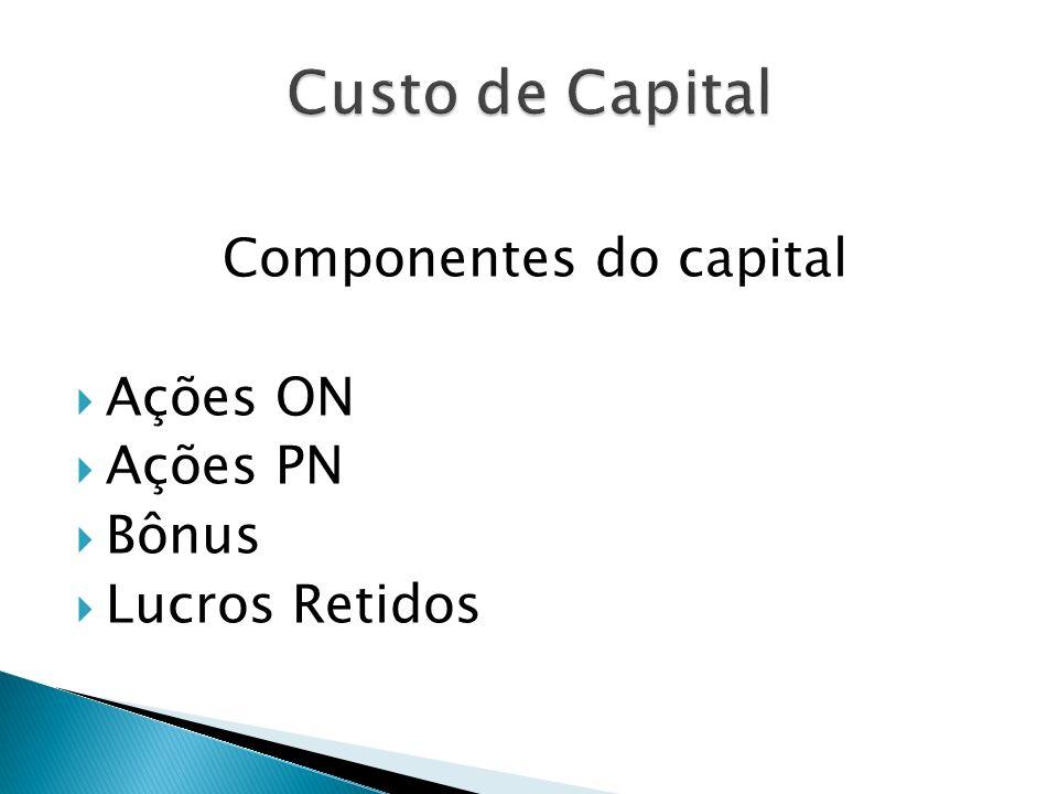 Componentes do capital Ações ON Ações PN Bônus Lucros Retidos