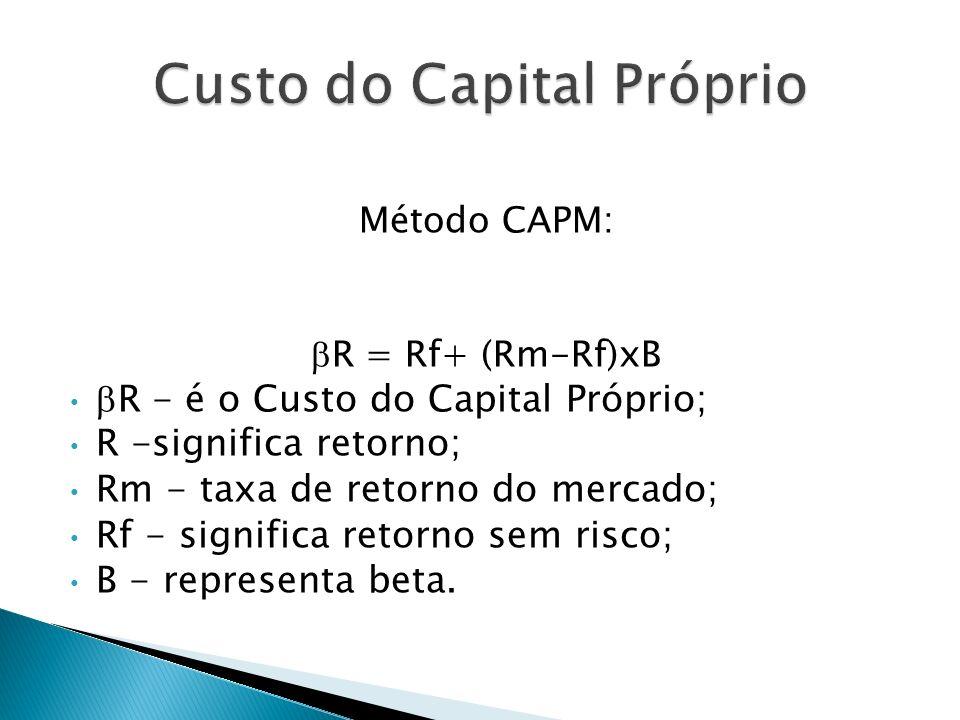 Método CAPM: R = Rf+ (Rm-Rf)xB R - é o Custo do Capital Próprio; R -significa retorno; Rm - taxa de retorno do mercado; Rf - significa retorno sem ris