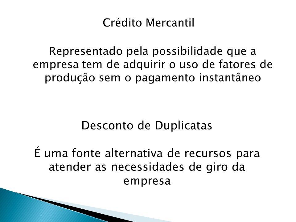 Crédito Mercantil Representado pela possibilidade que a empresa tem de adquirir o uso de fatores de produção sem o pagamento instantâneo Desconto de D