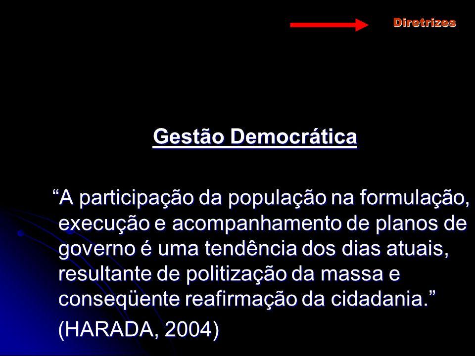 Diretrizes Gestão Democrática A participação da população na formulação, execução e acompanhamento de planos de governo é uma tendência dos dias atuai