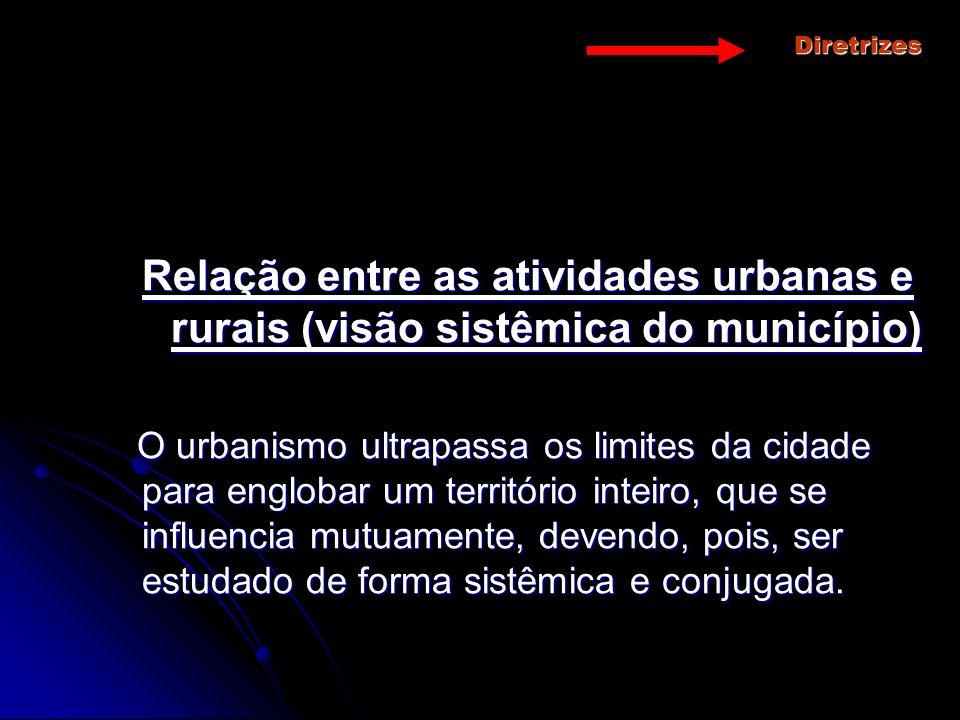 Diretrizes Relação entre as atividades urbanas e rurais (visão sistêmica do município) O urbanismo ultrapassa os limites da cidade para englobar um te