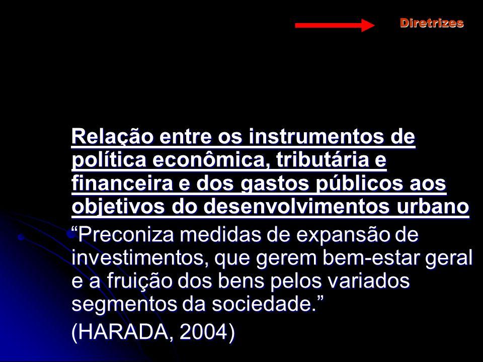 Diretrizes Relação entre os instrumentos de política econômica, tributária e financeira e dos gastos públicos aos objetivos do desenvolvimentos urbano