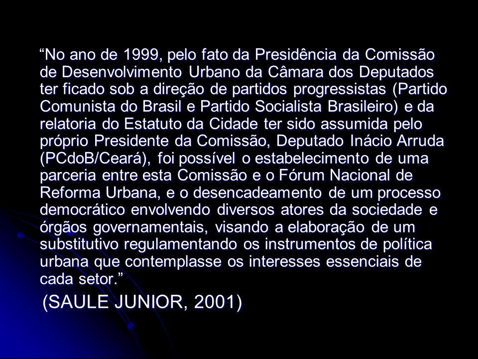 No ano de 1999, pelo fato da Presidência da Comissão de Desenvolvimento Urbano da Câmara dos Deputados ter ficado sob a direção de partidos progressis