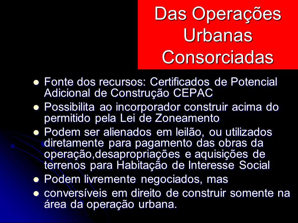 Fonte dos recursos: Certificados de Potencial Adicional de Construção CEPAC Fonte dos recursos: Certificados de Potencial Adicional de Construção CEPA
